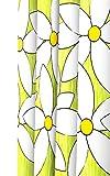 Lashuma Textil Duschvorhang mit Ringen Magnolia in Grün, Wannenvorhang mit Blumenmuster in Gelb und Weiß, Größe: ca. 120x200 cm