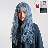 24 Zoll Blaue lange gewellte Haar Perücken, GLAMADOR blaue Damenperücke mit Ponys, langes gewelltes Haar, synthetische volle Perücken, hitzebeständige Faser synthetische Cosplay Perücke