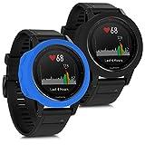 kwmobile 2in1: 2x Protezione per braccialetto per il fitness per Garmin Fenix 5 - Cover in silicone per sport watch senza tracker nero blu