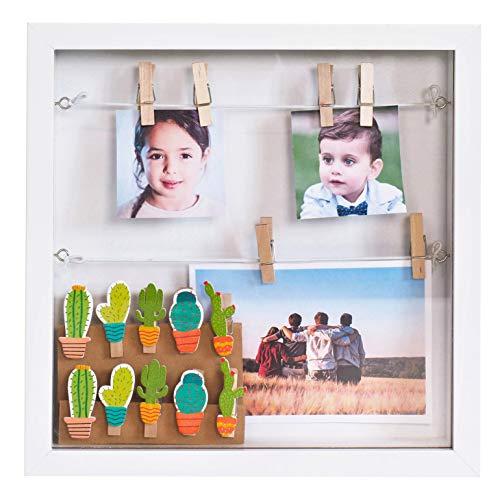 Gadgy ® 3D Bilderrahmen | MDF Rahmen mit 18 Wäscheklammern | 25x25x4 cm Box weißer Design | Objektrahmen zum Befüllen (Weiß)