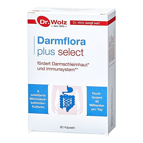 Darmflora plus select Dr. Wolz | widerstandsfähige, selektierte Milchsäurebakterien | hochdosierte Bakterienkulturen 48 Mrd/Tag | 8 Kulturen | 80 Kapseln