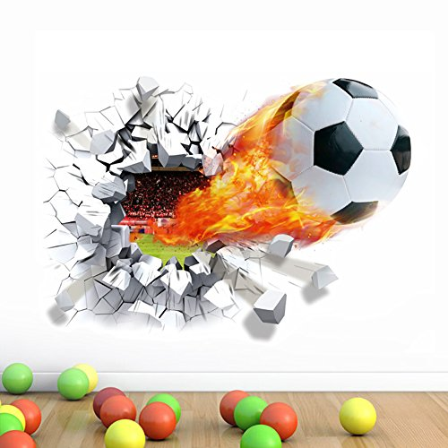 WandSticker4U- Wandtattoo in 3D Optik: Fussball | Wandbild: 70x50 cm | Wandsticker Mauerwerk Poster Wandaufkleber Deko für Kinderzimmer, Junge GROSS