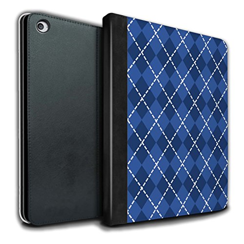Stuff4® PU-Leder Hülle/Case/Brieftasche für Apple iPad Air 2 Tablet/Winter Argyle Muster/Blau Mode Kollektion Argyle Apple