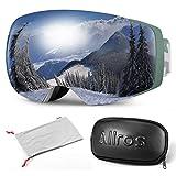 ALLROS Occhiali da Sci, Maschere da Sci Occhiali da Snowboard con Protezione UV 100% OTG Anti Nebbia Doppia Lente Compatibile con Casco da Sci (Argento)