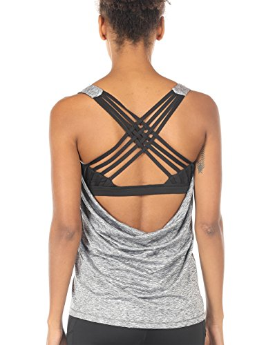 icyzone Damen Sport Tops mit Integriertem BH - 2 in 1 Yoga Gym Shirt Fitness Training Tanktop (XL, Grey Melange)