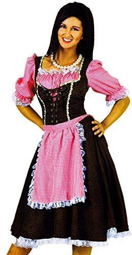 es DIRNDL KLEID lang mit rosa Schürze in Wildleder Optik Gr. 40-42 (Nerds Kostüm Kleid)