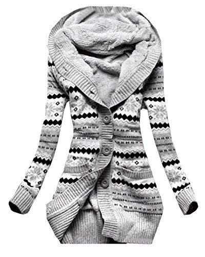 Donna cappuccio cardigan in maglia autunno manica lunga pulsante cappotto maglieria sottile lunghe tasca coat kimono top (it42, grigio)
