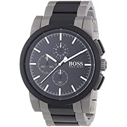 Hugo Boss Mens Stainless Steel Watch Analogue Quartz Multicoloured Wrist Watch Silver Stainless Steel Strap Waterproof 50M and Scratch Resistant in Attractive Presentation Box 1512958