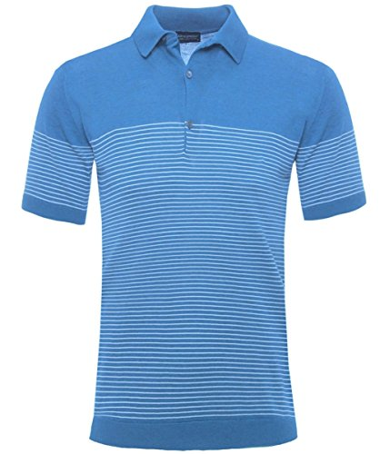 John Smedley Men's Gestrickte gestreiften Viking-Poloshirt Blau Blau