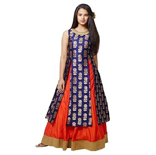 White Button Girl's Navy Blue Jequard Silk N orange Silk Lehenga Indo...