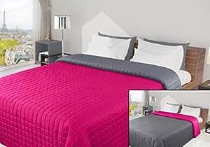 170x210 amaranth dunkelrosa pink stahl anthrazit grau Tagesdecke Bettüberwurf Steppbettüberwurf Steppung zweiseitig Eva