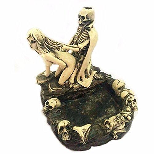 Festival Tricky Scary geschnitzt Funny Spoof Totenkopf Skelett und Beauty nackten Frau Girl Fun Blumentopf Aschenbecher Friend 's Best Geschenk (Blumentopf Halloween Kostüm)