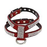 Balock Schuhe Hundegeschirr,No-Pull-Haustiergeschirr,Verstellbare Outdoor-Haustierweste Strass-Brustgurte, für Hunde Einfache Steuerung für Kleine Mittelgroße Hunde (Rot, M)