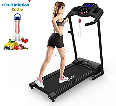 FoxHunter Heavy Duty Folding Motorized Electric Treadmill Running Fitness Exercise Machine Manual With Free Water Bottle MP3 Indoor Sport Gym Pro Jogging MT02 KBR-JK106 Black New by FoxHunter
