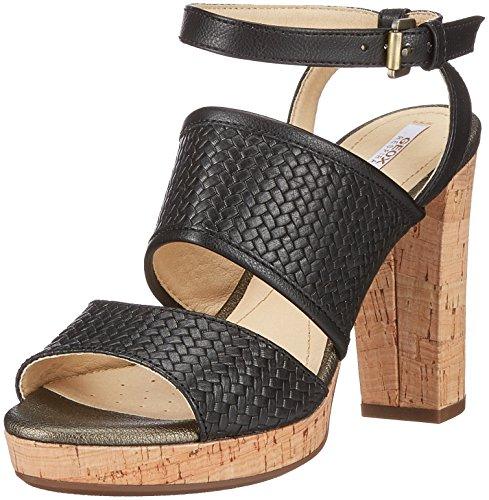 Geox D Mauvelle A, Sandali con Cinturino Alla Caviglia Donna Nero (Black)