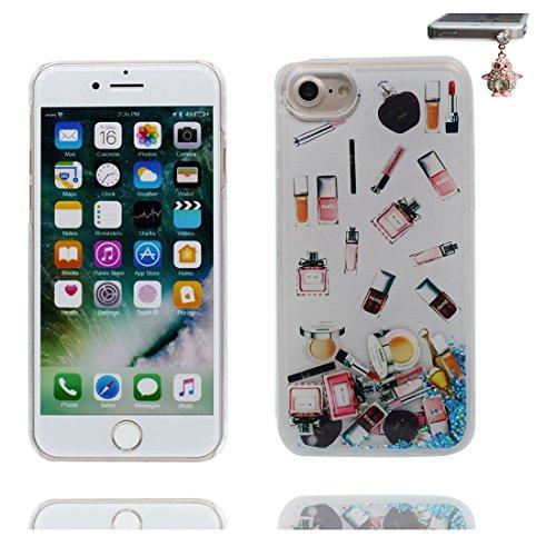 Coque iPhone 7 Plus, [Bling Bling Glitter ] iPhone 7 Plus étui Cover (5.5 pouces), Fluide Liquide Sparkles Sables, iPhone 7 Plus Case anti- chocs & Bouchon anti-poussière Make-Up # 1