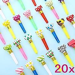 Idea Regalo - JZK® 20 x Trombette colorate per feste carnevale, bomboniere regalini per festa compleanno accessori feste bambini
