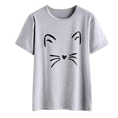 Beiläufig Kurzarm O-Neck Katze Gedruckt Kausalen Bluse Damen Tops Sommer T-Shirt Oberteile Pullis(Grau,M) (Mann, Katze Kostüm)