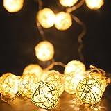 MoKo String Lights 3m/9.8ft 20 LED Rattankugel Lichterketten USB & Batteriebetriebene Lampe für Halloween Weihnachtsferien Hochzeit Geburtstag Party Schlafzimmer Dekoration, Warmweiß