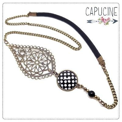 Headband avec Cabochon Verre à Pois Noir et Blanc, Estampe et Chaîne Bronze, Accessoire Cheveux avec Élastique