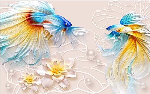 ZCHENG 3D Stereo Relief Goldfish Lotus Schmuck TV Hintergrund Wand Foto 3d Wohnzimmer Tapete papel de parede, 200x140