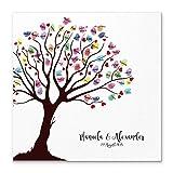Madyes Leinwand Hochzeit Fingerabdruck Gästebuch Personalisiert Baum Herzen für Das Brautpaar als Geschenk, Hochzeitsdekoration, Namen mit Datum. 50x50 cm groß auf Keilrahmen Holz