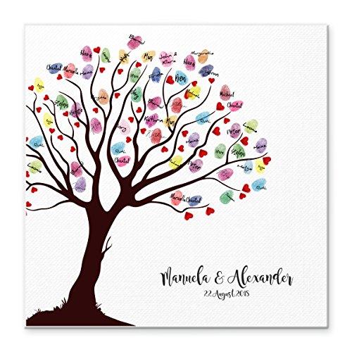 Herz Leinwand (Madyes Leinwand Hochzeit Fingerabdruck Gästebuch personalisiert Baum Herzen für das Brautpaar als Geschenk, Hochzeitsdekoration, Namen mit Datum. 50x50 cm groß auf Keilrahmen Holz)
