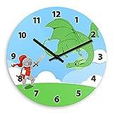 Wanduhr mit Motiv – Ritter und Drache - für Jungen | Kinderzimmer-Uhr | Kinder-Uhr