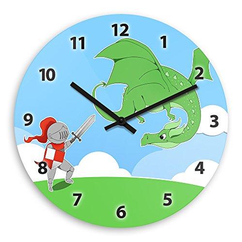 Wanduhr mit Motiv – Ritter und Drache - für Jungen   Kinderzimmer-Uhr   Kinder-Uhr