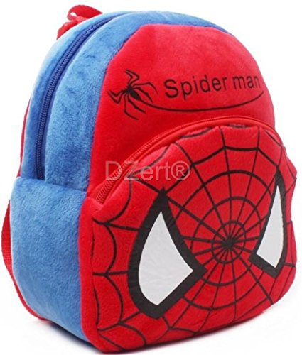 DZert Soft Plush Fabric Multicolour Spiderman Printed School Bag for Baby Boys and Girls Image 2