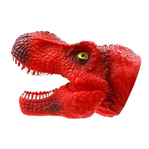 Toyvian Tyrannosaurus Rex mano burattino silicone realistico giocattolo bocca di dinosauro dentista morso dito suono gioco divertente giocattolo t (rosso)