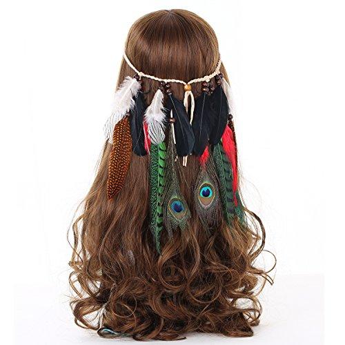 AWAYTR Hippi Boho Quaste Feder Stirnband Perlen Niedlich Maskerade Verrücktes Kleid Kopfstücke Hippie Haar Zubehör (Stil 2) (Federn Kleid)