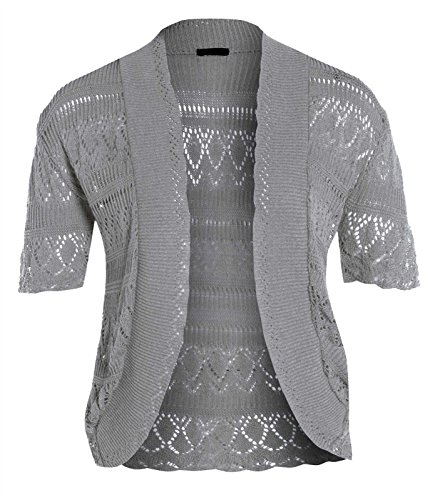 Bolero da donna a maniche corte lavorato all'uncinetto, taglia 40-58 Light Grey