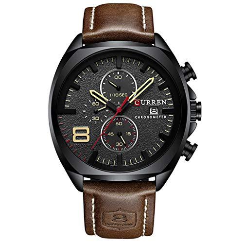 Skryo_ Uhren&Uhrenarmbänder Skryo Wasserdichte große Zifferblatt Uhr Männer Casual Fashion Leather Belt Große Zifferblatt Uhr (Kaffee) -