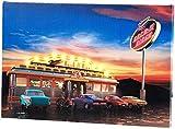 infactory Leuchtbilder: Wandbild Rock It Diner auf Leinwand mit LED-Beleuchtung, 45 x 30 cm (Beleuchtetes Wandbild)