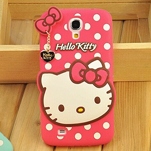 Hello Kitty Silicone With Pendant Back Case Cover For Samsung S4 I 9500