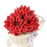 KESOTO 144pcs Mini Künstliche Callalilie Blumen Hochzeit DIY Blumenstrauß - Rot