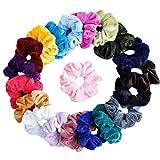 Lot de 20 chouchous en velours élastique Elastiques Chouchou Cheveux Ties Cordes Chouchou pour femme ou filles Accessoires Cheveux – chouchous 20 assortis