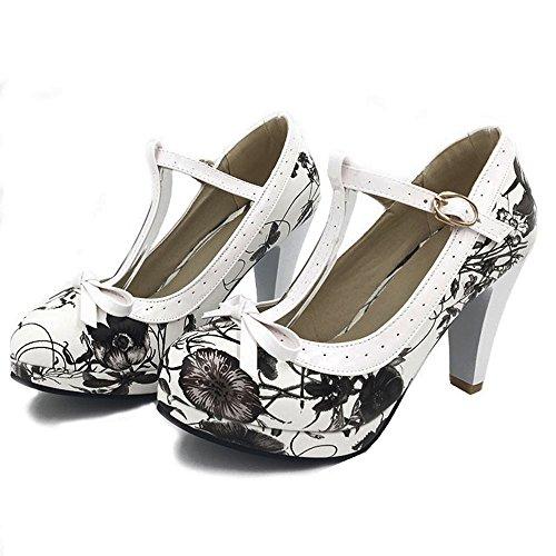 TAOFFEN Damen Elegant Hoch Absatz Party Pumps T-Spange Solid Schuhe Black Flower