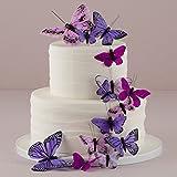Tortendekoration Schmetterlinge - Variation in Lila (24 Stück)
