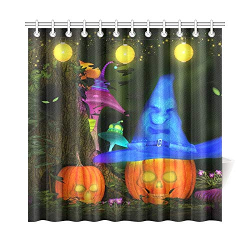 JOCHUAN Wohnkultur Bad Vorhang Halloween Party Märchenwald Polyester Stoff Wasserdicht Duschvorhang Für Bad, 72X72 Zoll Duschvorhänge Haken Enthalten (Gruselige Geschichte Halloween-party)