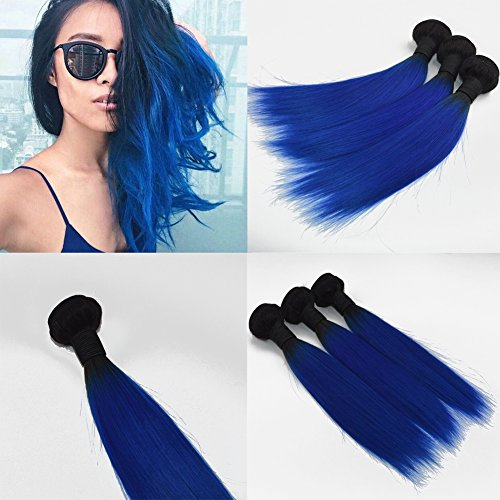 14 – 61 cm silky straight hair bundles dip dye ombre hair extensions two tone color black to grey hair weave/weft remy capelli umani