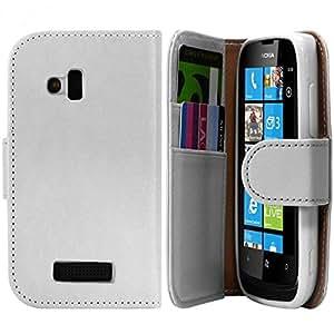 Seluxion - Housse Coque Etui Pour Nokia Lumia 610 Style Diamant Couleur Blanc