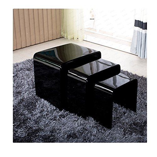 Best price modern nest of tables black 3 lamp side for Buy modern coffee table