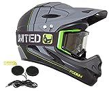 Demon Podium Full Face Mountain Bike Helmet + Audio with Black Supra Goggle (Large)