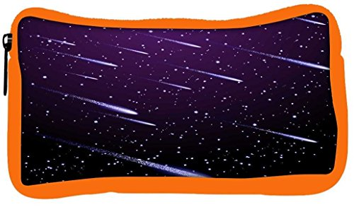 Snoogg Eco Friendly Canvas Background with Meteor Shower Student Pen Pencil Case Coin Purse Pouch Cosmetic Makeup Bag