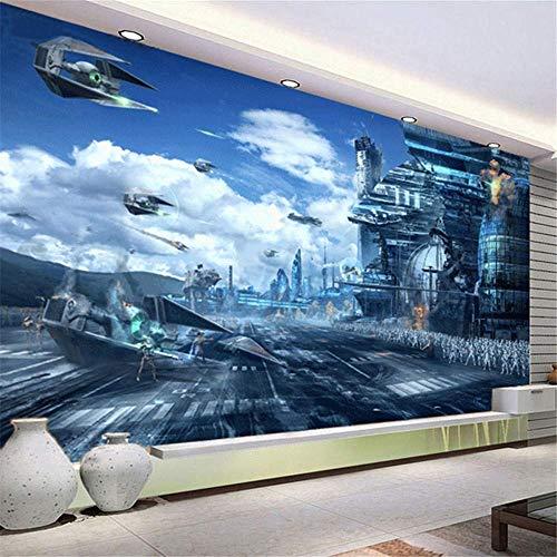 apete 3D Wandbild Tapete Zukünftiger Kosmischer Krieg Thema Science-Fiction-Film Wandbild Kunst Aufkleber Wandbild,250 * 175 cm ()