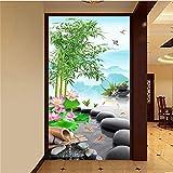 Fushoulu Benutzerdefinierte Fototapete Im Chinesischen Stil Bambus Lotus Landschaft Wohnzimmer Eingang Hintergrund Wand Dekoration Malerei Tapete-400X280Cm