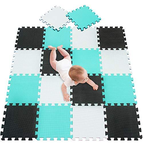 meiqicool tappeto puzzle tappetini puzzle per bambini giochi giocattoli puzzle|tappeti da gioco 18 pezzi tappetini bianco nero e verde 010408
