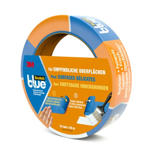 3M ScotchBlue Ruban Masquage pour Surfaces Délicates 24 mm x 50 m 1 Rouleau Bleu